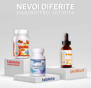 tipuri de vitamina d Calivita: vitamina d tablete, vitamina d picaturi, vitamina d pentru copii