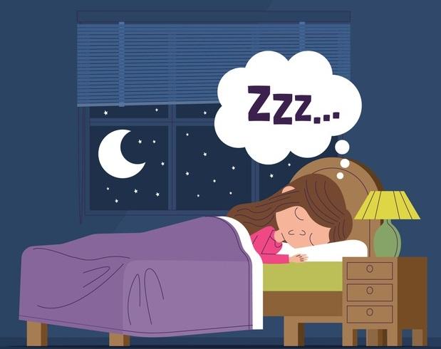 fata doarme noaptea in pat cu luna pe geam desen grafic