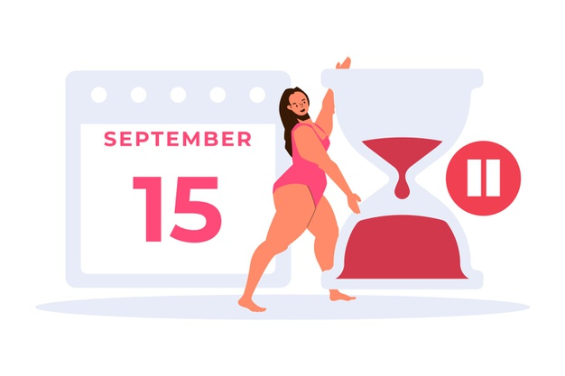 femeie la menopauza supraponderala incercand sa faca sport dupa un calendar stabilit desen grafic
