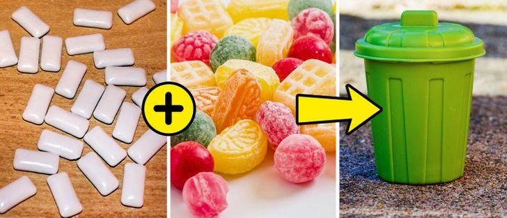 guma de mestecat tablete, bomboane colorate, tomberon verde