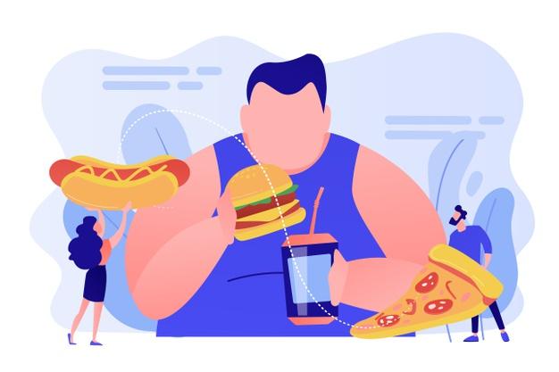 obezitate cauzata de fast food si zahar desen grafic
