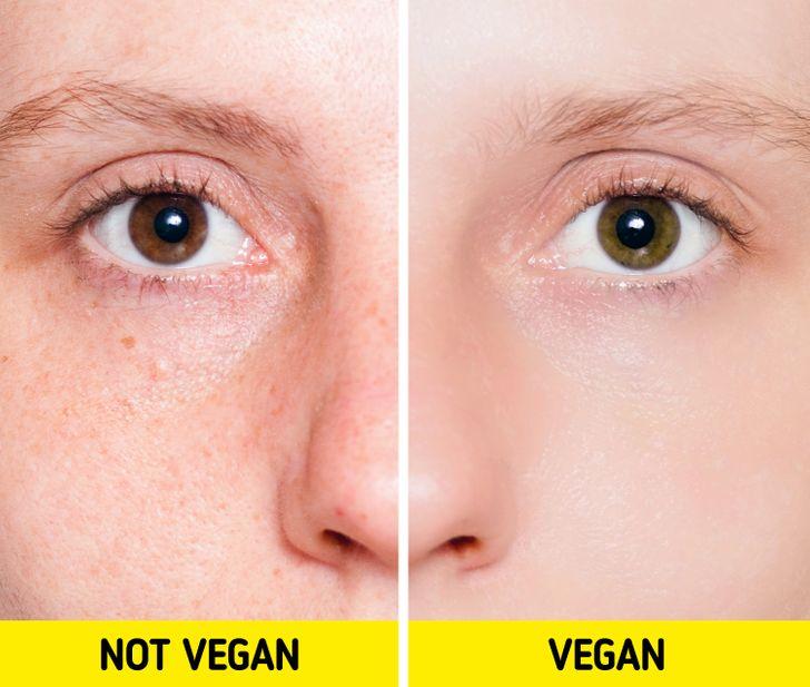 piele imbatraninta fata persoana versus piele catifelata persoana vegana