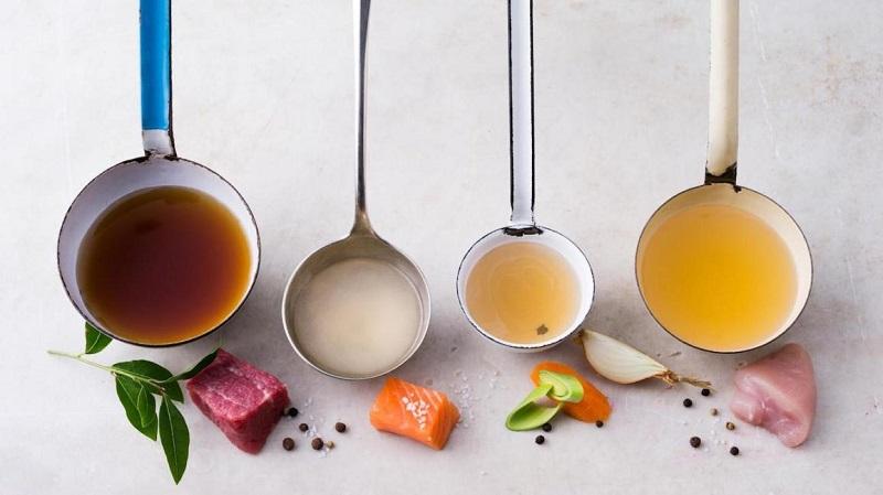 surse de colagen din diferite tipuri de supe: carne de pui, peste, vita