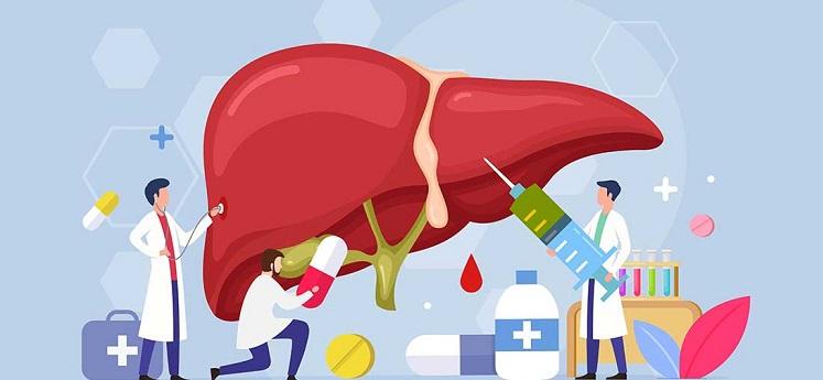 ficatul, desen grafic cu medici care il umplu de pastile
